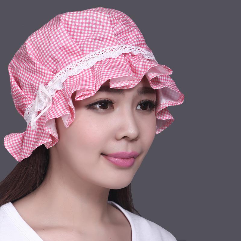 带兜鱼 女士夏秋纯棉可爱厨帽,头巾套头化疗月子帽子,花边睡帽