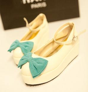 туфли Еще один аукцион электронной почты Корейский обуви конфеты цветные бантом на толстой подошве платформы обувь Танкетка Обувь 006 Искусственная кожа