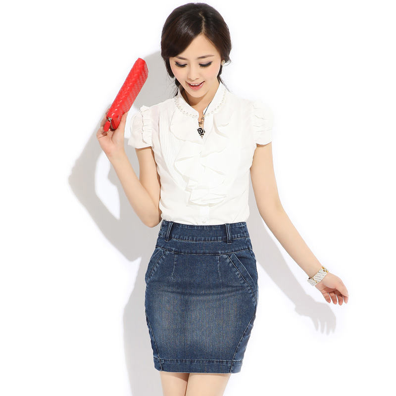 Elastic+waves+of+Korean+package+email+denim+skirt+summer+short+dress+woman