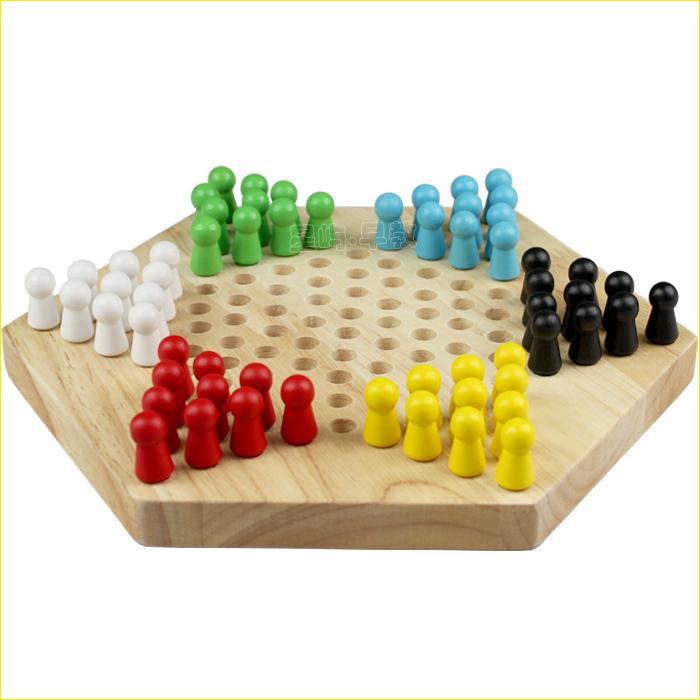 星屿早教 木制玩具 益智玩具 六角榉木跳棋 最经典亲子桌面游戏图片