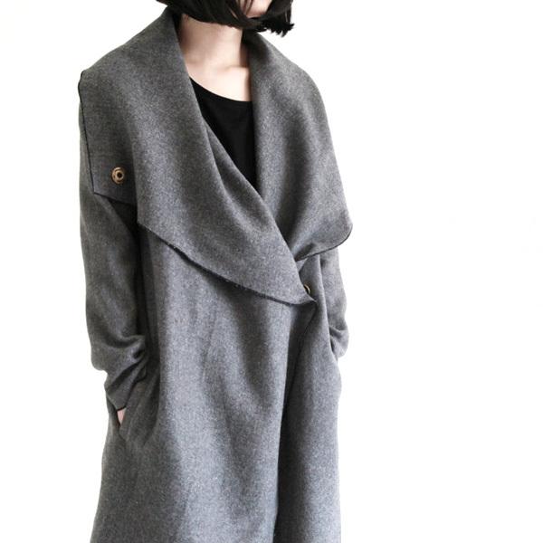 женское пальто Spiced salt Длинная модель (80 см<длина изделия ≤ 100 см) Spiced salt Длинный рукав Классический рукав
