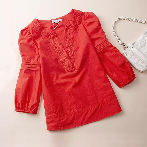 женская рубашка Vicki Flowers Городской стиль Длинный рукав Однотонный цвет V-образный вырез