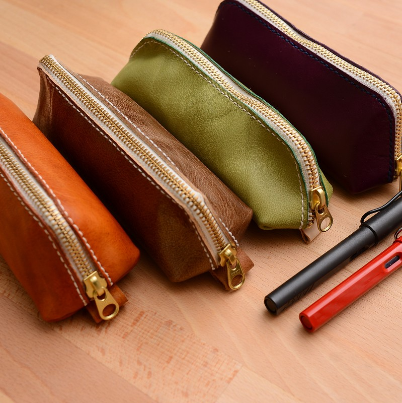 罐手制 纯手工 牛皮手缝日系文艺极简风文具盒笔袋 多色可定制
