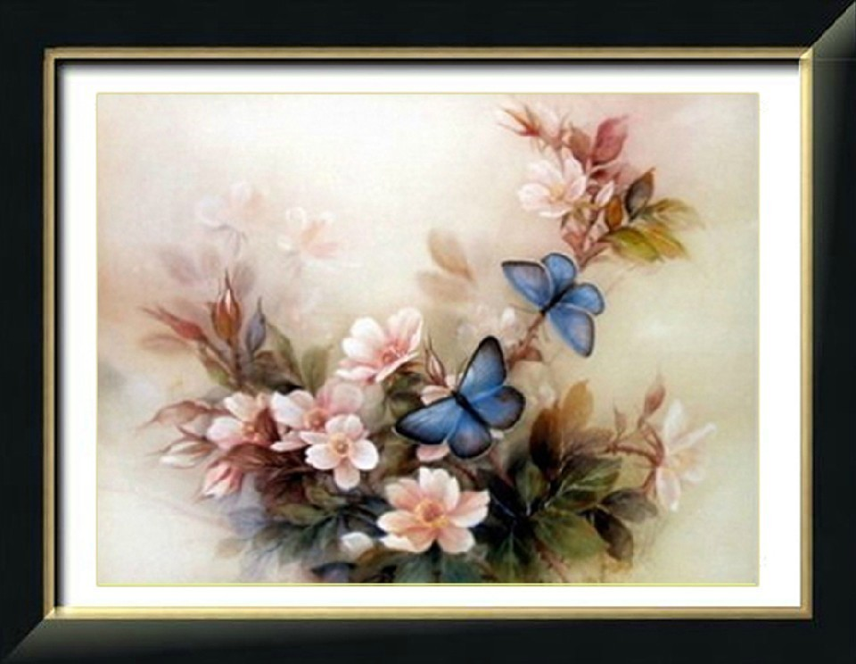 包邮 accurate printed cross stitch new 3D living room bedroom series blossom blue butterfly Kit-mail