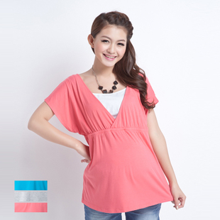 October Mummy maternity dresses tops summer Korean breastfeeding pregnant women two piece v neck t shirt