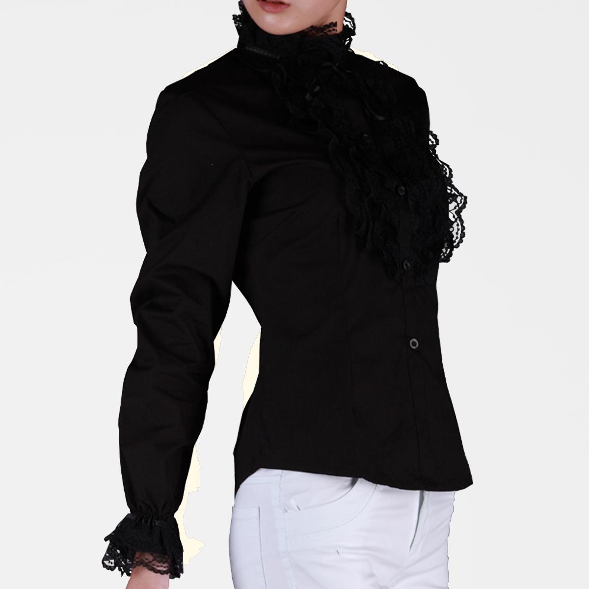 женская рубашка C2512 Повседневный Длинный рукав Однотонный цвет Воротник-стойка