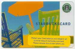 星巴克卡 STARBUCKS CARD 06年 夏季版 橘黄色雨伞