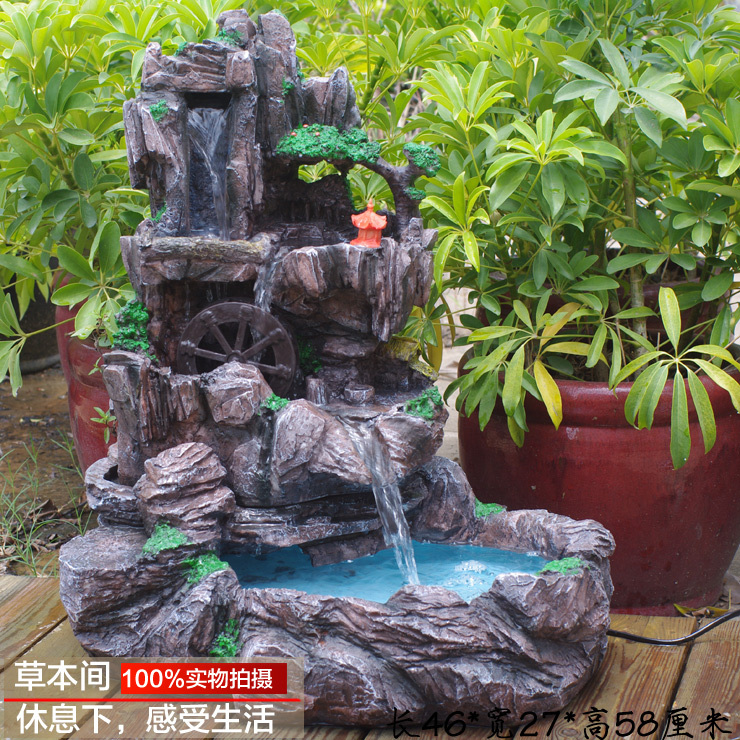resin craft decoration feng shui water fountain rockery round creative home accessories indoor. Black Bedroom Furniture Sets. Home Design Ideas