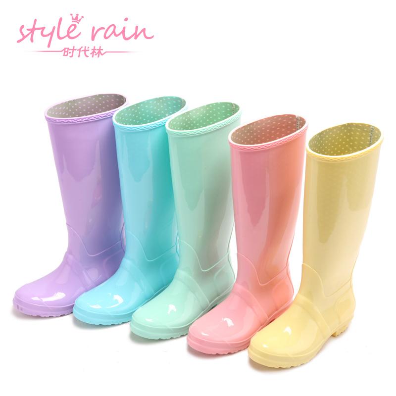时代林 英伦风防滑高筒水靴雨鞋 雨靴 时尚纯色胶鞋 女 水鞋 H001
