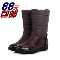 2014冬新款保暖羽绒靴加厚太空棉雪地靴平跟女棉靴防水中筒靴正品