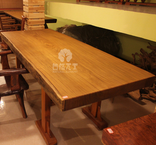Golden teak slab stock boss head table dining table solid wood Executive desk wood tea tables desks on sale