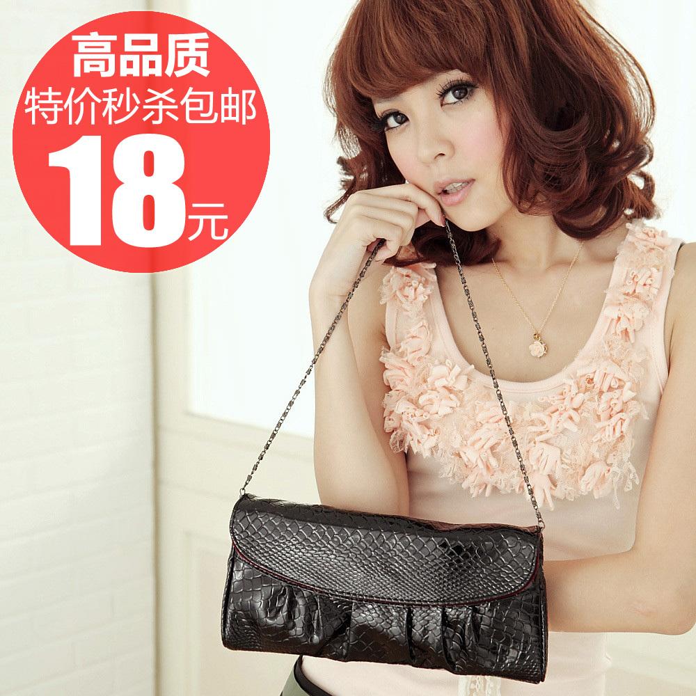 2012新款韩版夏季潮百魅手拿小包时尚复古单肩斜挎包链条包女包包
