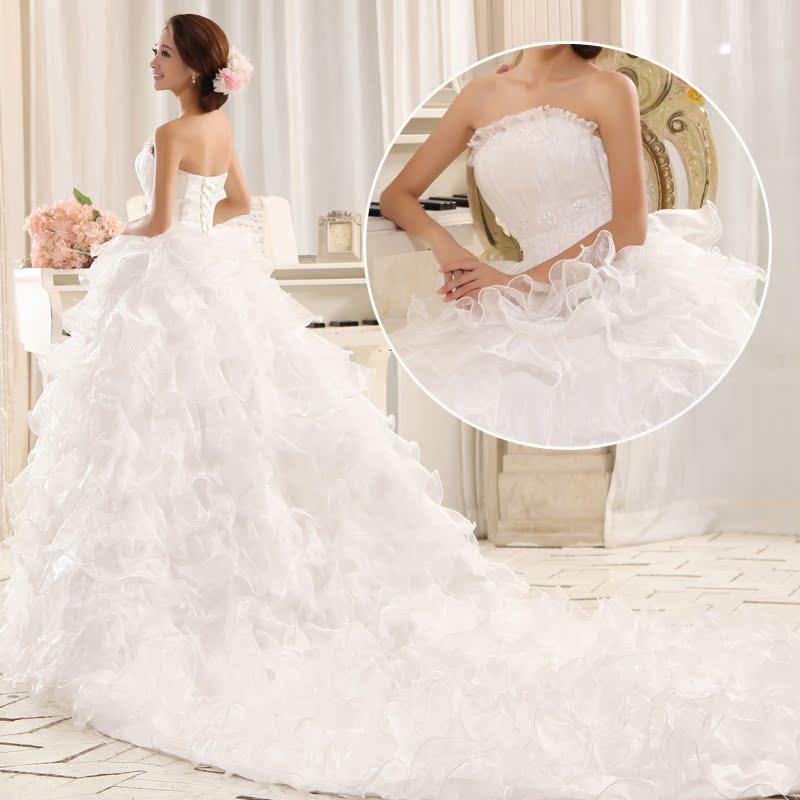 韩版钉珠 拖尾白色婚纱 新娘结婚婚纱 高贵绑带长拖尾 女装