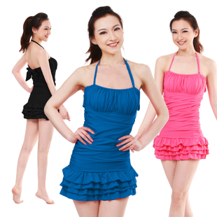 Swimsuit woman yiqilian swimming suit small chest gathered piece skirt-covered belly sent thin swimsuit swimming Cap