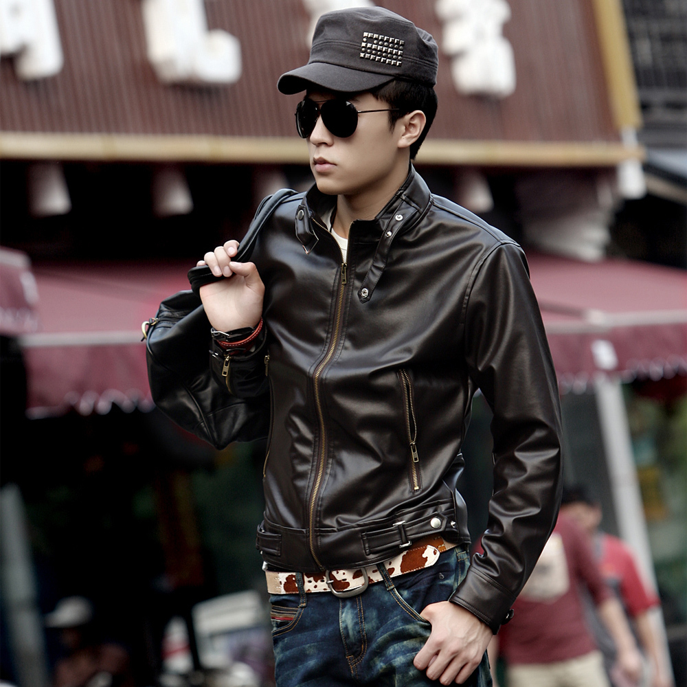 Purchase men's Korean short cab PU leather collar slim fit men s leather jacket men coat men jacket