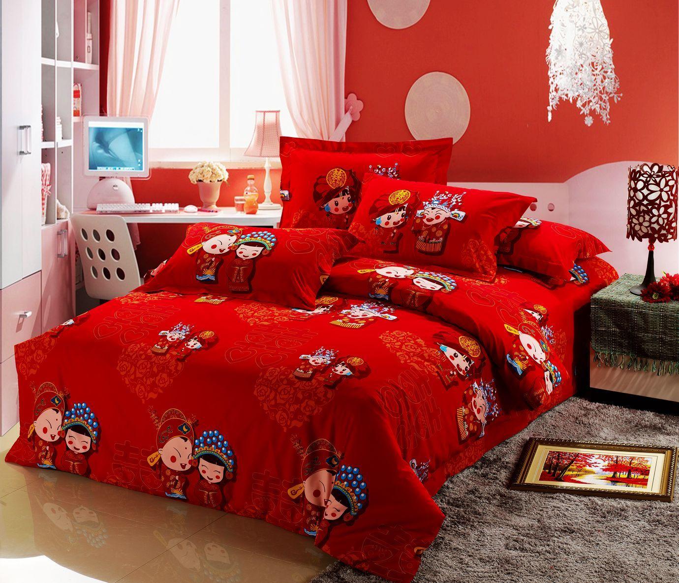 家纺全棉加厚磨毛四件套婚庆床上用品红色结婚床上四件套纯棉特价