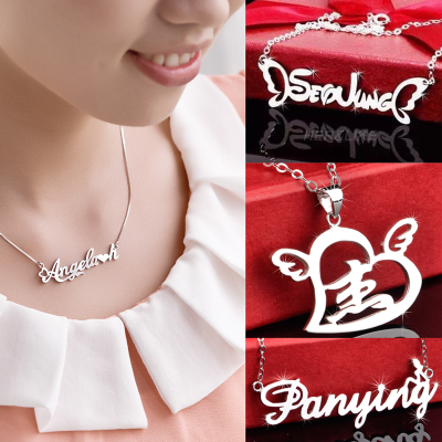 925 sterling silver alphabet set custom name necklace pendants female Chinese lettering diy custom birthday short paragraph clavicle chain