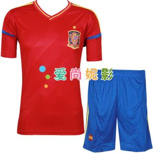 12-13 Spain national team football clothes suit away football shirt clothing racing suit child