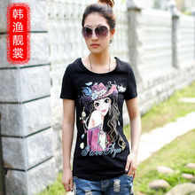Han Yue Liang Sang summer new wave of Korean version of the long section of loose modal fat mm large size T-shirt short-sleeved t-shirt women