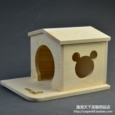 Yi pet world - Chinchilla supplies single slant wooden balcony nest 25 * 20 * 17cm0.75kg