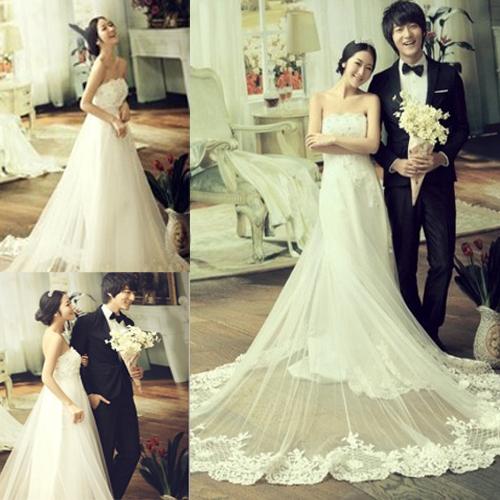 婚纱2012最新款 小拖尾婚纱韩版孕妇婚纱新娘大码准妈妈高腰婚纱