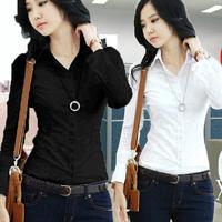 2016春秋胖mm大码女装学生衬衣职业工正装黑白衬衫女式长袖打底衫