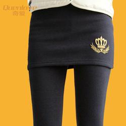 秋冬加绒加厚打底裤 假两件打底裤裙大码显瘦外穿包臀打底裙裤