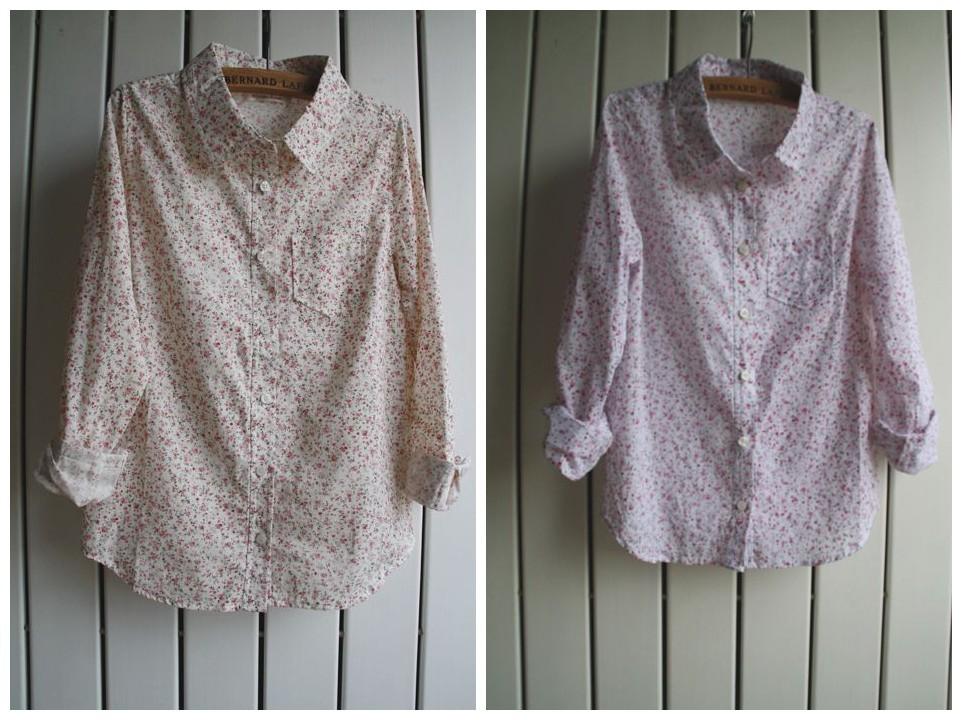 женская рубашка Повседневный стиль Длинный рукав Рисунок в цветочек Осень 2012