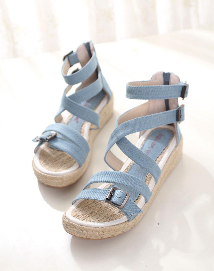 杂志同款森女风牛仔布厚底罗马鞋凉鞋编织底平底女鞋