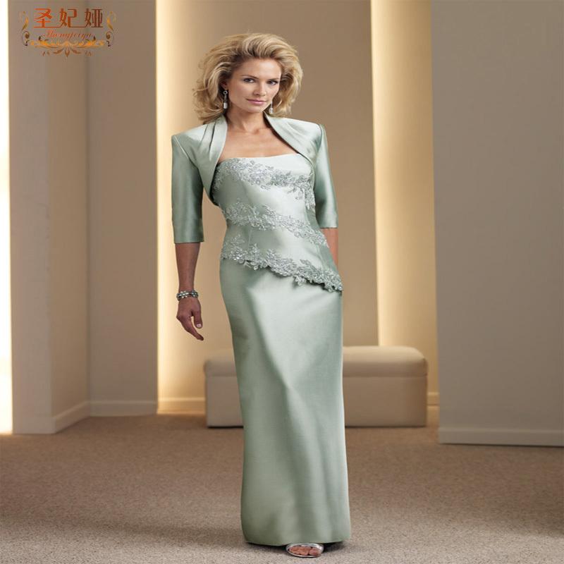 圣妃娅蕾丝晚礼服抹胸中袖中老年礼服手工量身定做妈妈装结婚宴会