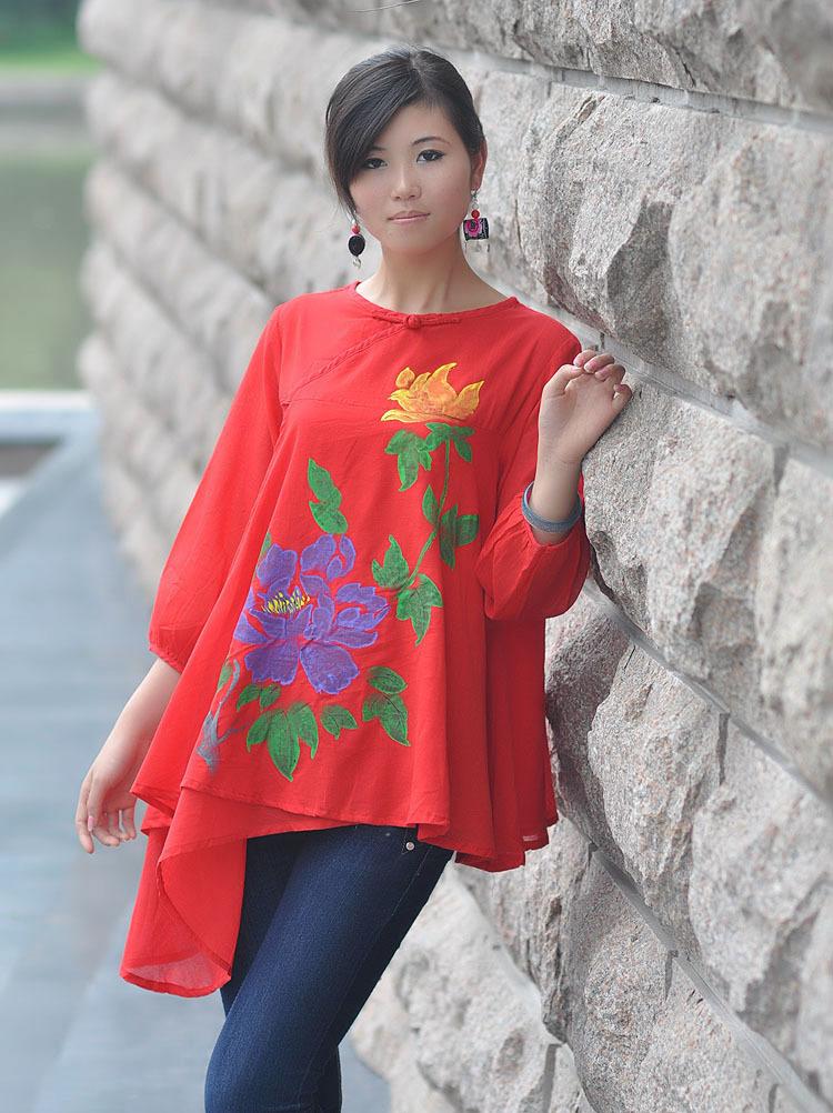 женская рубашка Sweet to convey deep 22 Повседневный Ручное окрашивание Оборка О-вырез