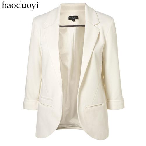 糖果色七分袖 女西装 多色韩版 修身款小西服 大码haoduoyi