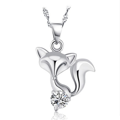 2014 new Korean fashion star boutique Peach Fox S925 Sterling Silver pendant necklace jewelry grade female
