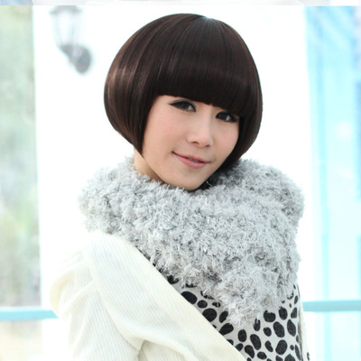 Short hair wig BObo repair handsome face mushroom head girls bobo head repair face OL temperament wig