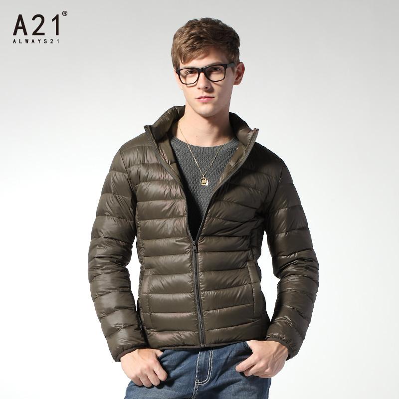 以纯短款羽绒服_a21以纯男装冬款时尚轻薄保暖男士羽绒服男短款修身款休闲外套潮