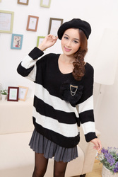 Korean style rabbit fur pocket casual striped sweater