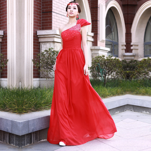 Angel yihan latest 2012 skinny red long dress wedding dress evening dress LF266