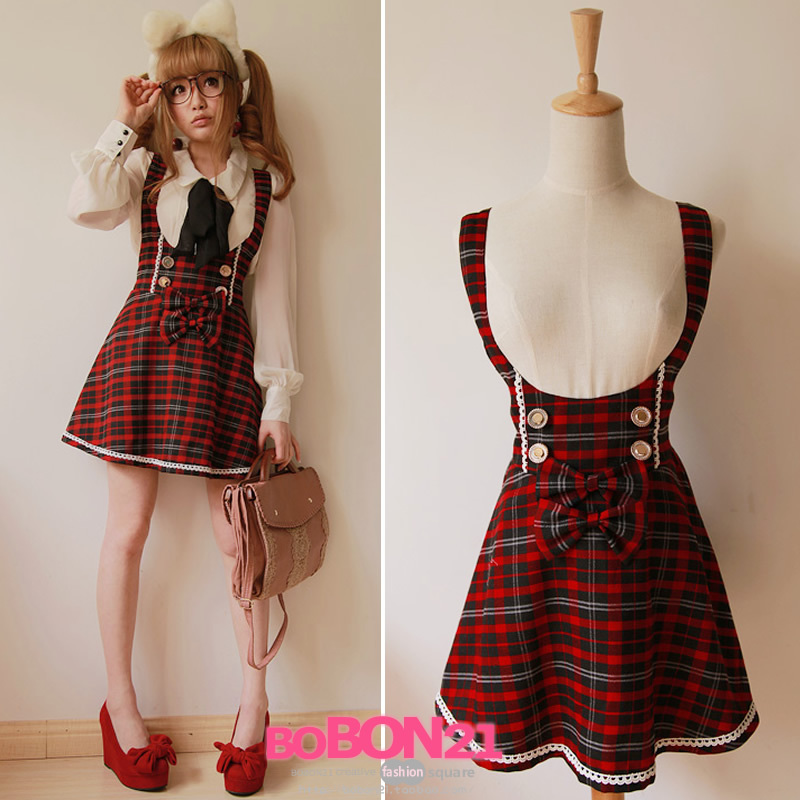 BOBON21 exclusive original school of design wind cute Red Bow lace high waist bib skirt B0558