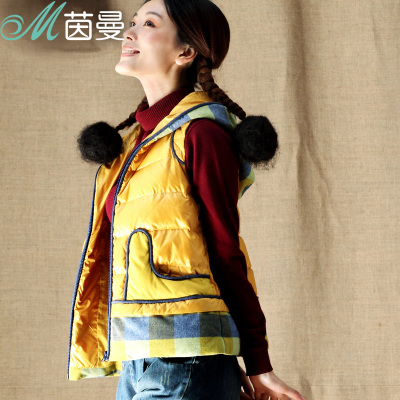 Yan Man flagship store special clearance 2014 new winter plaid hooded down jacket vest female 8340720008