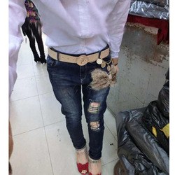 European style fashion fur decorated womenss denim trousers