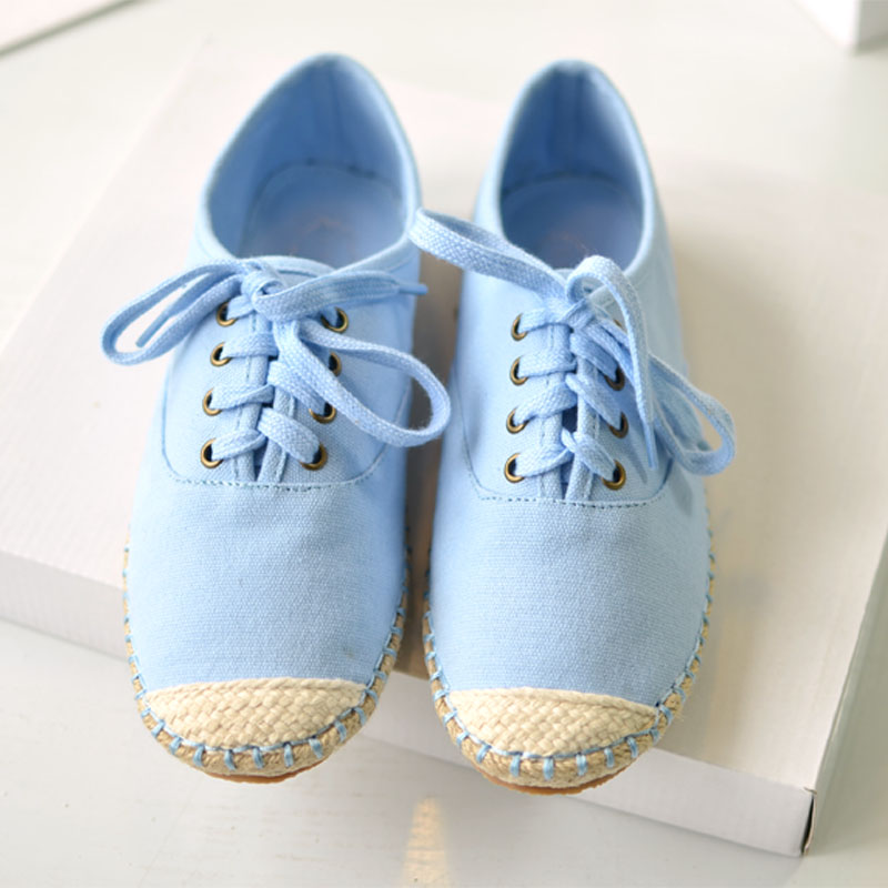2013 new candy-colored flat lace linen canvas shoes to help low side lace shoes student shoes women shoes