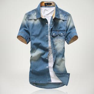 夏季男装 时尚男士短袖牛仔衬衫 磨白水洗牛仔衬衫