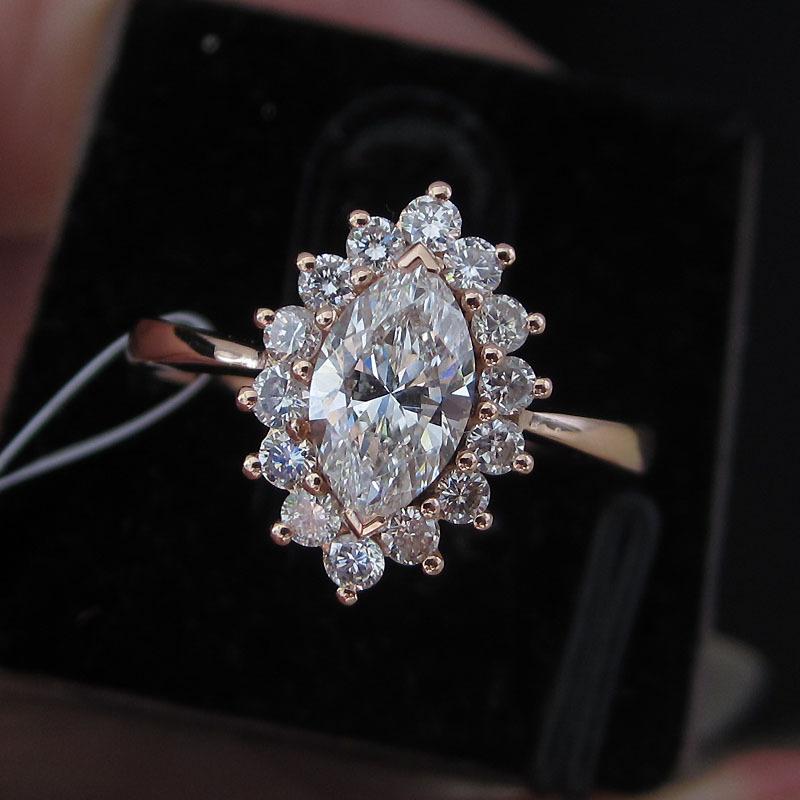金俪尔珠宝 18K金钻石戒指戒/水滴形钻石/GIA裸钻/女士钻戒戒托