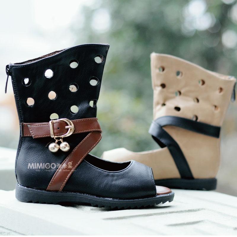 〓米米果〓韩。风尚童装 全皮面罗马款露趾短靴/镂空靴/特