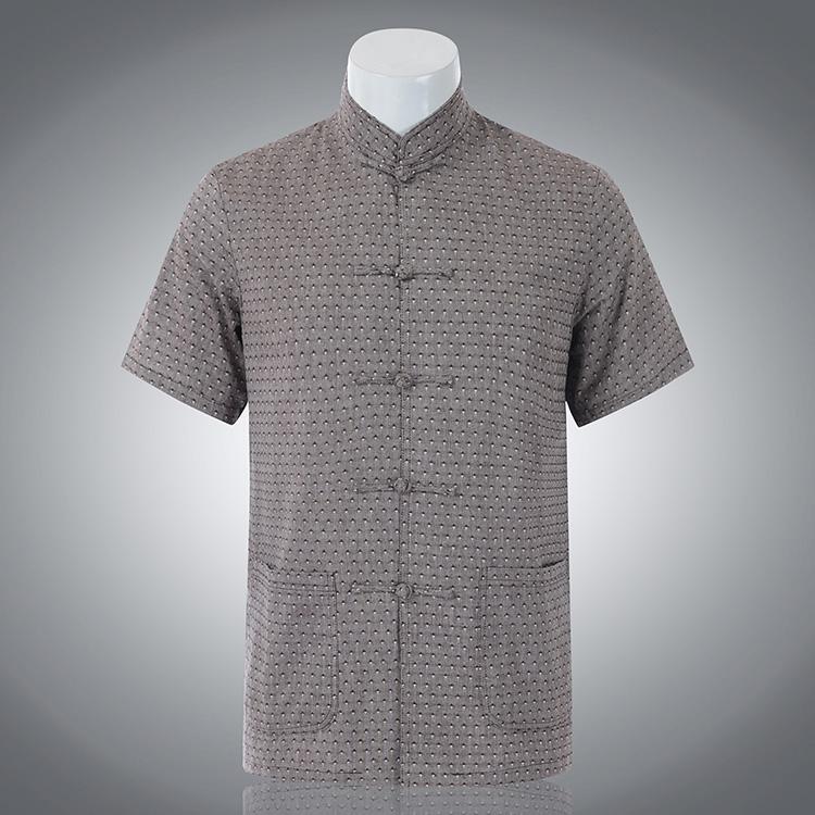 2014新款中老年唐裝男短袖棉麻亞麻上衣夏季男士唐裝休閑立領襯衫圖片
