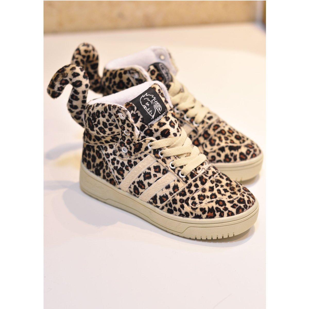 Круглый носок Плоская подошва Шнурок Плоская подошва Клееная обувь Леопардовый узор