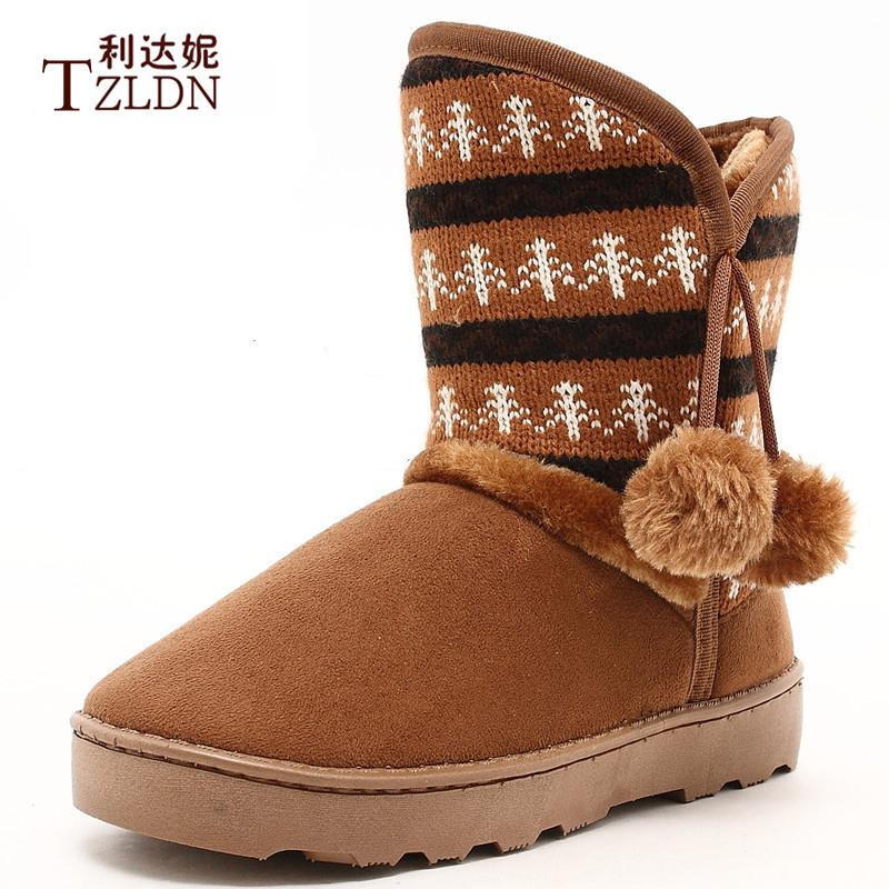 针织毛线款色拼接森女保暖冬靴