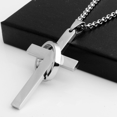 Titanium steel necklace men women with disabilities long section one hundred Korean Korean sweater chain with cross pendant jewelry gift