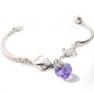 Female double heart shaped Amethyst bracelet to heart