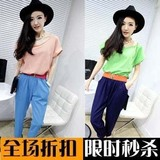 Spell hit Korean design big Emile verhaeren Siamese pants Leotard chiffon summer Siamese trousers